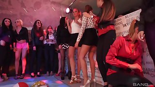 Hardcore public group sex party with horny babes at the club