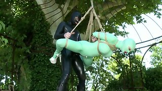 Outdoor fetish play with two kinky women in latex
