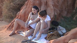 Exclusive pussy action readily obtainable sunset for two teen babes