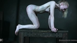 Skinny Alice plays submissive near kinky lecherous play