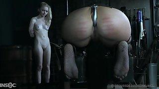 Slave girl Victoria Voxxx torture while her blonde friend watches