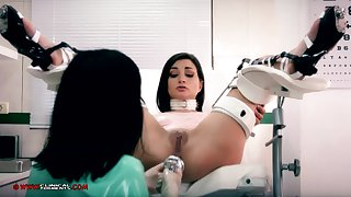 Crazy nurse, Minerva is toying surrounding Valentina Bianco, while they are alone in the office