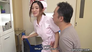 Comely Asian nurse with a beautiful ass gives her turn out that in the event of a good blowjob
