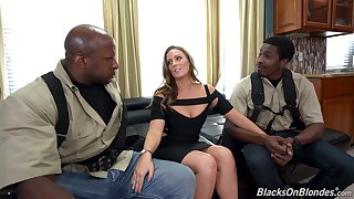 Two black guys bang white babe with juicy ass and tits Febby Twigs