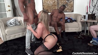 Busty  beauty goes intimate on touching two older black hunks