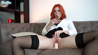 Secretary Just about Stockings Masturbates Pussy Dildos Spanks Big Ass And Intense Orgasm Just about The Office