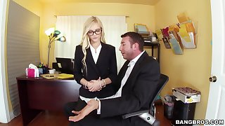 Nerdy office blonde leaves the hot boss have sexual intercourse her in the ass