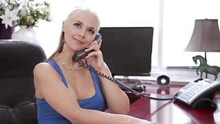 Hardcore fucking in the office in the air naughty MILF Sarah Vandella