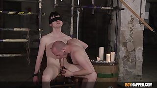 Blind folded twink plays duteous for this thirsting gay dominator