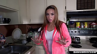 Quickie having it away between a rich guy with the addition of Latina maid Kylie Rogue