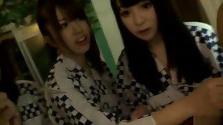 Mellow buxomy oriental teen slut Kyoko Maki fingering her pussy