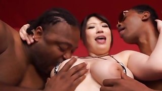 Addictive interracial in DP Japanese action